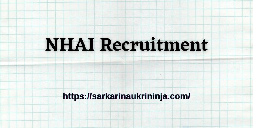 You are currently viewing NHAI Recruitment 2021- Fill Online Application Form For Deputy Manager Vacancies