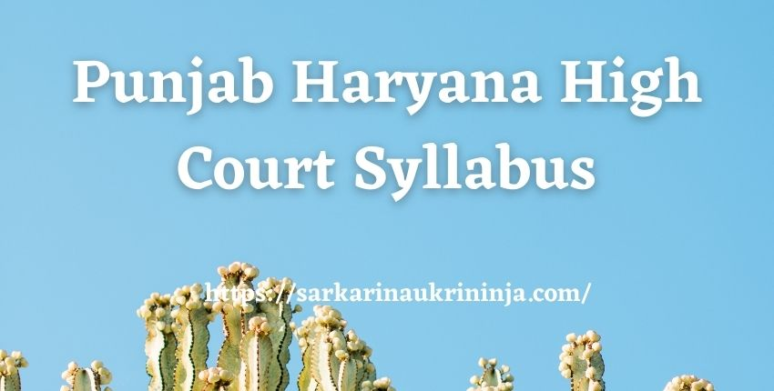 You are currently viewing Punjab Haryana High Court Syllabus 2021 | Download highcourtchd.gov.in Clerk Exam Syllabus Pdf Here